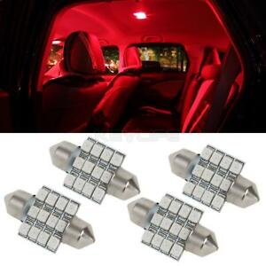 4x Red 12 Smd 31mm Festoon Car Interior Dome Map Lights 6418 12v