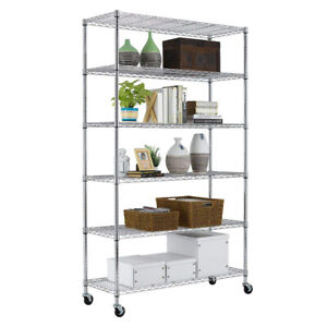 Chrome 82 x48 x18 6 Tier Layer Shelf Adjustable Wire Metal Shelving Rack 76