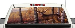Truck Suv Whitetail Deer Rear Window Graphic Decal Perforated Vinyl Wrap B3