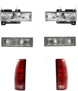 1990 1993 Chevy Gmc Truck For Headlights Park Lamps Tail Lamps 92 93 Yukon Set 6