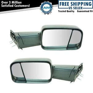 Mirror Manual Towing Flip Up Upgrade Textured Pair Kit Set Of 2 For Dodge Ram