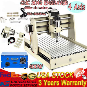 4 Axis 3040 Cnc Router Engraver Engraving Drilling Milling Machine 400w Spindle