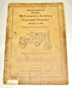 Ih F20 Mccormick Deering Farmall Tractor Instruction Book