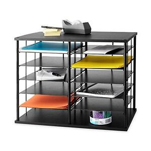 Desktop Organizer Office 12 Slot Black Metal Wire Cubby Shelves Desk Storage