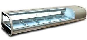 Omcan Rs cn 0052 s 53 Curved Glass Refrigerated Sushi Case New Great Warranty