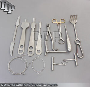 12 Assorted Orthopedic Surgical Instruments Forceps Pack