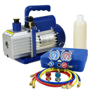 R134a Ac Refrigeration Kit A c Manifold Gauge 1 4hp 3 5 Cfm Air Vacuum Pump