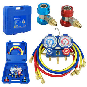 R134a R12 R22 R502 Hvac A c Diagnostic Manifold Gauge Set 60 Charging Hoses