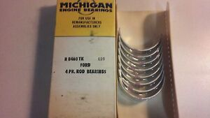 New Old Ford Michigan Engine Bearing Ford R 8460 Tk 020 Rod Bearings Set Of 4