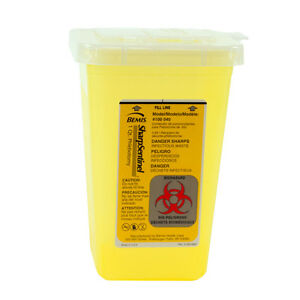 Bemis Biohazard Sharps Needle Disposal Container Yellow 1 Quart Phlebotomy