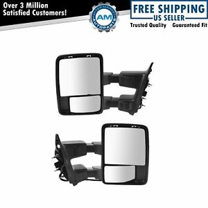Power Heat Fold Smoked Turn Textured Upgrade Towing Mirror Pair For Super Duty