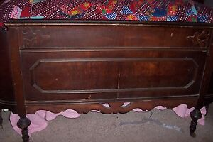 Antique Double Bed W Mattress And Box Springs And Double Dresser