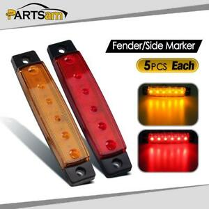 5yellow 5red 6led Bus Van Truck Trailer Side Marker Indicators Lights Sealed
