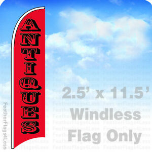 Antiques Windless Swooper Flag 2 5x11 5 Feather Sign Rb