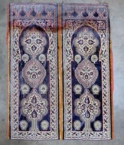 Antique 2 Panel Silk Moroccan Moorish Blue Gold Tapestry Hanging Rug 65 X51 5