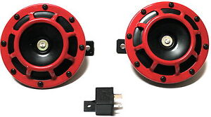 2pc Red Super Loud Grille Mount Compact Electric Blast Tone Horn Car Truck Bikes