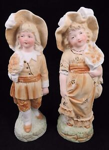 Antique Gebruder Heubach Bisque Pair Piano Boy Girl Figurines Dolls Germany