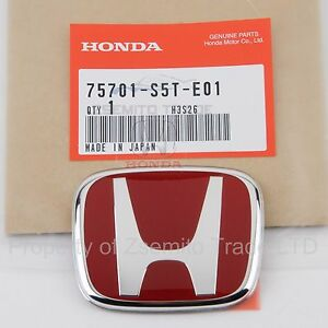 Honda Civic Type R Si Rear Emblem Jdm Ep3 H Red Genuine 75701 s5t e01 Badge