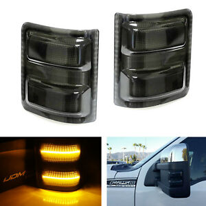 Smoked Lens Amber Led Side Mirror Marker Lights For 2008 16 Ford F250 F350 F450