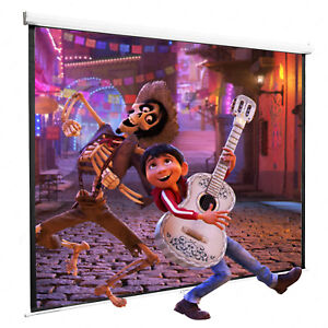 100 Projector Screen 16 9 Projection Hd Manual Pull Down Home Theater White
