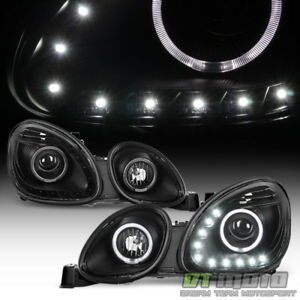 For 1998 2005 Lexus Gs300 Gs400 Drl Led Halo Projector Headlights Left Right Blk