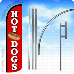 Hot Dogs Windless Swooper Flag 15 Kit Feather Banner Sign Rz