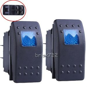 2pcs Blue Led Waterproof Marine Boat Car Rocker Switch On Off Illuminated 4pin