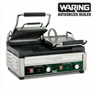Waring Wpg300 Ottimo Rib Top Bottom Commercial Panini Sandwich Grill 240v Wow