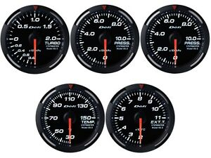 Defi White Racer 60mm 5 Gauges Set boost oil fuel Press oil Temp egt