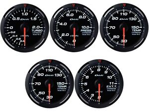 Defi White Racer 60mm 5 Gauges Set boost fuel Press oil water Temp egt