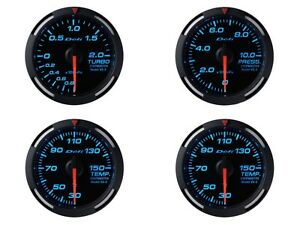 Defi Blue Racer 60mm 4 Gauges Set boost oil Press oil Temp water Temp