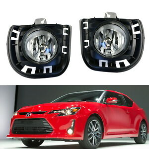 Complete Clear Lens Fog Lights W Bulbs Bezel Covers Wirings For 14 Up Scion Tc