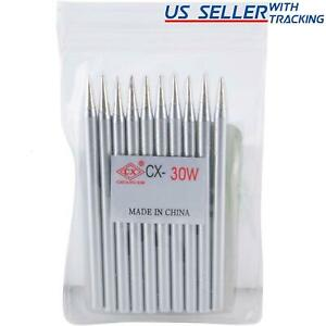 Delcast 10x Lead free Replacement Pencil Soldering Tip Solder Iron Tips 30w