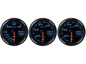 Defi Blue Racer 60mm 3 Gauges Set turbo Boost oil Pressure fuel Pressure