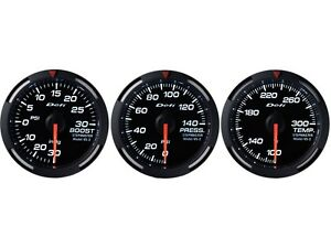 Defi White Racer 52mm 3 Gauges Set turbo Boost oil Pressure water Temperature