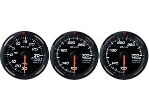 Defi White Racer 52mm 3 Gauges Set turbo Boost oil Temperature water Temp