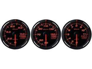 Defi Red Racer 60mm 3 Gauges Set oil Pressure water Temperature egt
