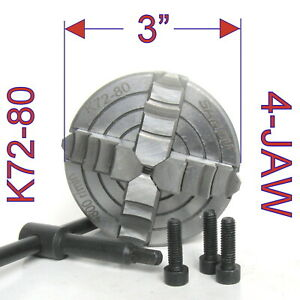 1 Pc Lathe Chuck 3 4jaw Independent Reversible Jaw K72 80 Sct 888