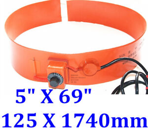 10 X 69 250 X 1740mm 220v 2000w Drum Band Fuel Diesel Belt Wvo Silicone Heater