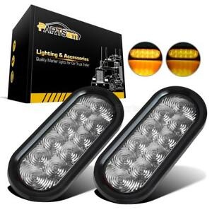 2 Clear Amber 6 Oval 10led Stop Turn Tail Clearance Light Trailer Flush Mount