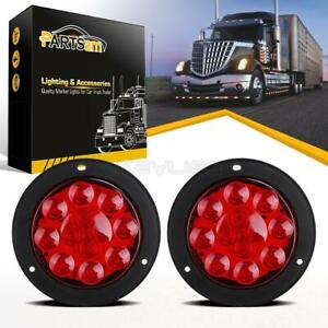 2x Red 4 Round Stop Turn Tail Brake Light Flange Mount 12 Led Truck Trailer 12v