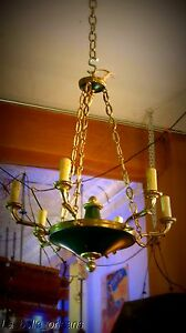 Charming Empire Tole And Brass Chandelier 6 Arms Snakes
