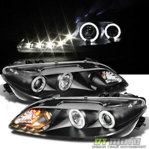 Black 2003 2006 Mazda 6 Mazda6 Led Halo Drl Projector Headlights Headlamps Pair