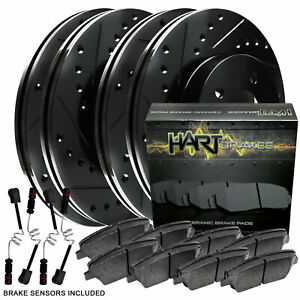 Full Kit Black Hart Drilled Slotted Brake Rotors And Ceramic Pad Bhcc 35165 02