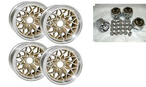 Trans Am 15x8 Aluminum Snowflake Wheel Kit W Center Caps Lug Nuts Gold Ws6