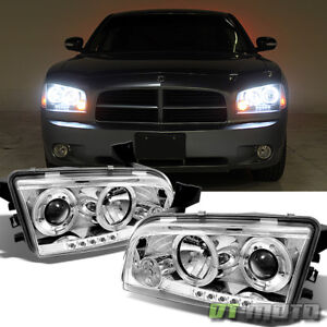 06 10 Dodge Charger Dual Halo Projector Led Headlights Lamps Lights Left Right
