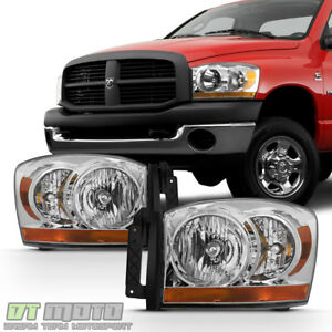 2006 2008 Dodge Ram 1500 2500 3500 Chrome Bezel Headlights Headlamps Left Right