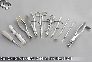 Set Of 10 Pcs Oral Dental Extraction Kit extracting Forceps 150 151 210h Ex 331