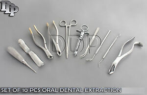 Set Of 10 Pcs Oral Dental Extraction Kit extracting Forceps 150 151 10h Ex 340