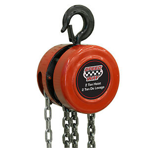 Speedway 2 Ton Chain Hoist With Drop Forged Hooks And 10 Ft Extension